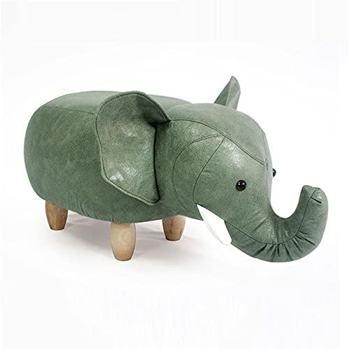 WXXSL Banc Pouf Léléphant, Ottoman Animal avec Rangement, Pieds en Bois Massif Tissu Eco-Tech Facile À Entretien, Amusant pour Enfants Tabouret,Vert,Standard Style