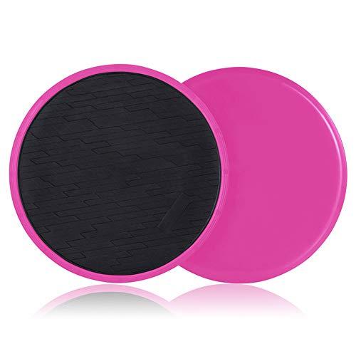 Yuemizi Core Sliders Übungsschieber, doppelseitige Gleitscheiben, Verwendung auf Teppich- oder Hartholzböden. Bauch-, Pilates- und Kerntrainingsausrüstung (2er-Pack) (Rosa)