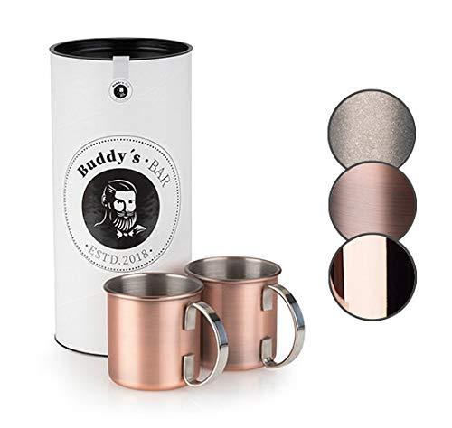 Buddy's Bar - Taza Moscow Mule, set de 2, 2 x 450ml, tazas de acero de alta calidad con revestimiento de cobre antiguo, apta para alimentos, aspecto vintage, tazas para cócteles con caja de regalo