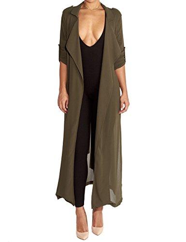 Begonia.K Women's Long Sleeve Chiffon Lightweight Maxi Sheer Duster Cardigan (Army Green, Medium)