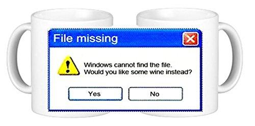 Taza de café de cerámica con diseño de Windows no puede encontrar el archivo con texto en inglés 'Would You Like Some Wine Inste'