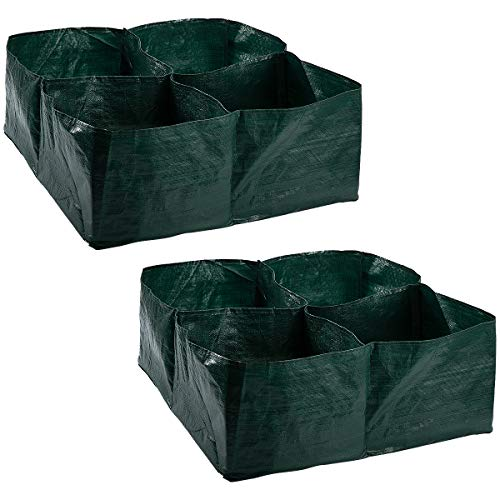 Apipi 2 Pack Raised Garden Planter Fabric Bed, 4 Divided Grids Durable Square Planting Grow Pot for...