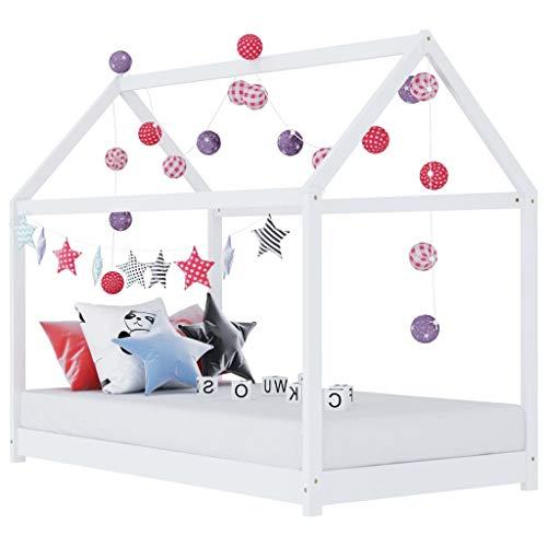 vidaXL Madera Maciza de Pino Estructura de Cama Infantil Mueble para Habitación Dormir Cuarto de Niños Blanco 70x140 cm