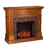 Southern Enterprises Rosedale Durango Stone Look Electric Fireplace, Sienna Finish