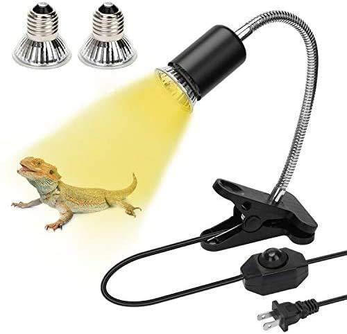 Reptile Aquarium Heating Lamp, with 2 UVA UVB (50W) Bulb Baking Lamps Adjustable Stand, Lizard Turtle Snake Chameleon Aquarium Clip Lamps (E27, 110V) (White)