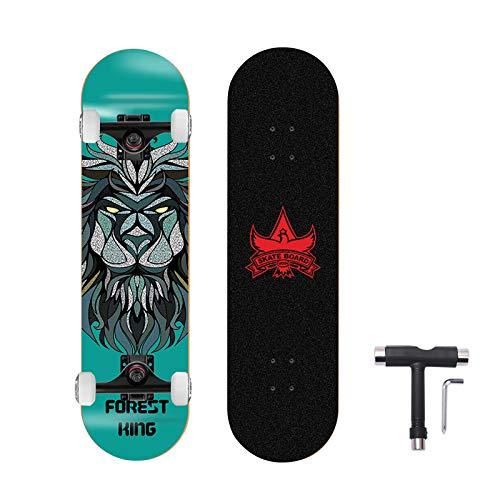 OLYSPM Skateboard Komplettboard 31 x 8 Zoll mit ABEC-9 Chrome Kugellager,7-Lagiger Kanadischer Ahorn,5.0