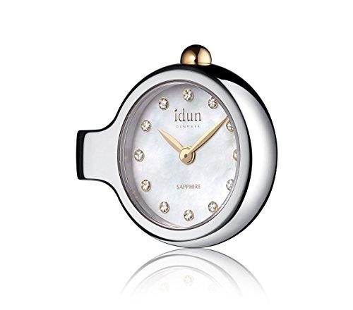 Idun Denmark - Pendant Charm-Watch mit Perlmutt Zifferblatt, weißen Steinen und zweifarbigem Gehäuse - DCW2200