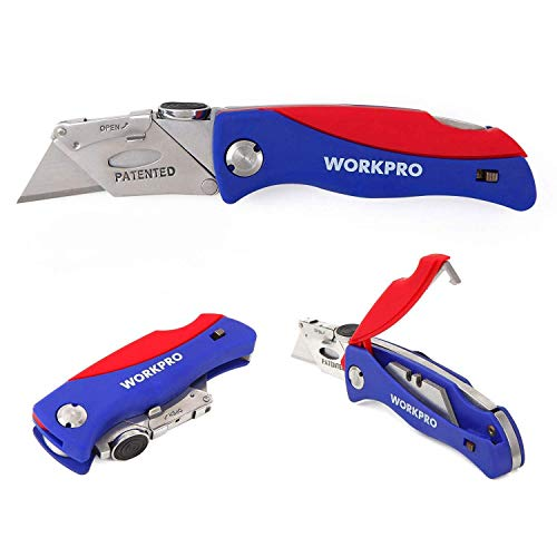 WORKPRO Folding Utility Knife Quick-change Box Cutter, Blade Storage in Handle with 5 Extra Blades Included (One Item)