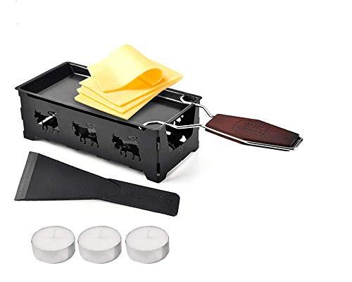 Käseraclette mit Kerze und Spachtel - Modische Mini Edelstahl Fondue-Set by ARTUROLUDWIG