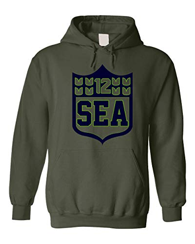 America's Finest Apparel Seattle Shield Hoodie - Military Green (XL)