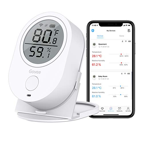 Govee WiFi Temperature Humidity Monitor, Wireless Digital Indoor Hygrometer Thermometer with App...
