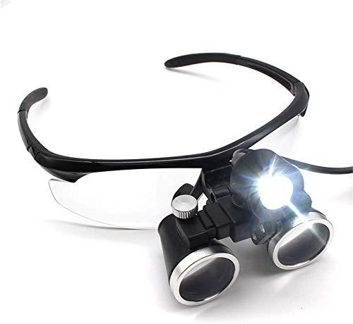 Giow Freisprech-Stirnbandlupe mit LED-Licht 2,5-fache / 3,5-fache Vergrößerung Binocular Dental Loupe Surgery Chirurgische Lupe mit LED-Licht für medizinische Operationen Lupenlampe, 2,5-fache Ve