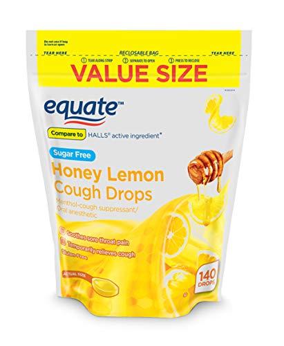 Equate Sugar Free Honey Lemon Cough Drops, 140 Drops (Pack of 2)
