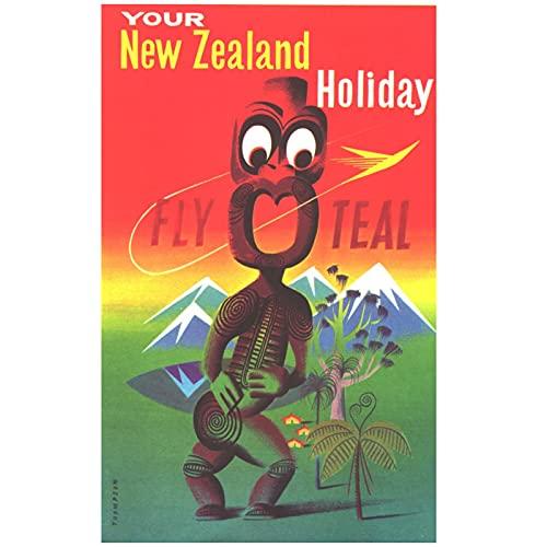 Australia y Nueva Zelanda Póster de pesca con mosca Nueva Zelanda Ver arte Retro Lienzo Pintura Póster Pared Carteles para el hogar Decoración para el hogar Regalo-60x90 cm x1 Sin marco
