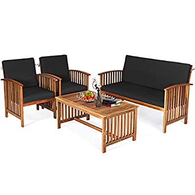 Tangkula Outdoor 4 PCS Acacia Wood Sofa Set w/Water Resistant Cushions, Padded Patio Seating Chat Set w/Coffee Table for Garden, Backyard, Poolside (1, Black)