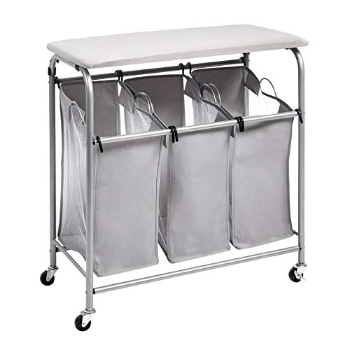 Amazon Basics 3-Bag Laundry Sorter with Ironing Board Top - $44.34 Shipped
