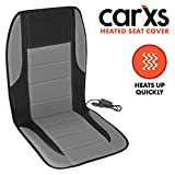 2012 Acura TSX A/C & Heating Parts - BDK carXS Heated Car Seat Cushion - Universal 12V Padded Car Seat Heater with Dual Heat Settings & Switch - Quick Heating Seat Cover for Car and Truck (Two-Tone Gray)