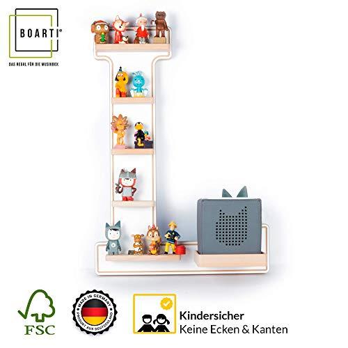 BOARTI Kinder Regal Buchstabe L in weiß - geeignet für die Toniebox und ca. 25 Tonies - zum Spielen und Sammeln