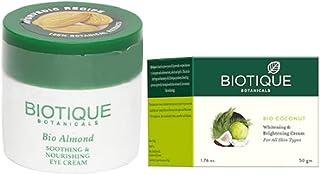 Biotique Bio Coconut Whitening & Brightening Cream, 50g|Bio Almond Soothing And Nourishing Eye Cream, 15g|Set of 2 Items