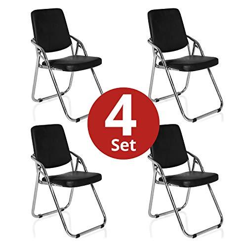 hjh OFFICE 4 x Konferenzstuhl/Besucherstuhl/Klappstuhl ESTO PU schwarz 4er Pack
