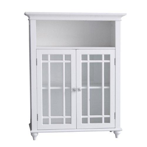 Elegant Home Fashions Neal Freestanding Floor Cabinet Bathroom Kitchen Living Room Storage with 2 Glass Doors 1 Open Shelf Adjustable Inner Shelf, White