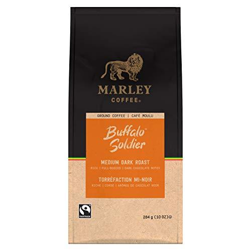Marley Coffee Buffalo Soldier, Fairtrade Certified, Medium-Dark Roast, Ground Coffee, 10 Ounce (Pack of 6)
