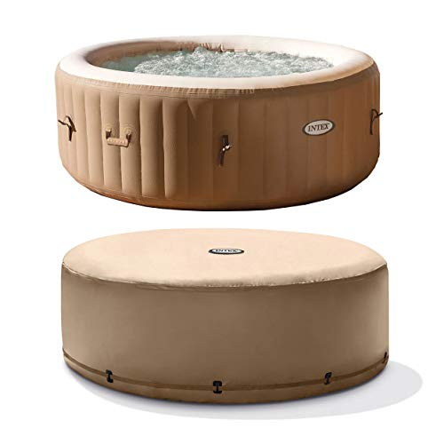 Intex PureSpa 4-Person Tan Inflatable Bubble Jet Spa Portable Hot Tub with Cover