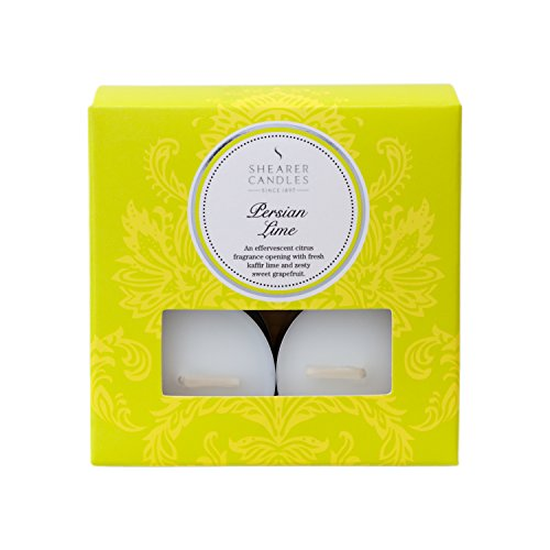 Shearer Candles Citron Vert de Perse Bougies Chauffe-Plats parfumées, Lot de 8, Blanc
