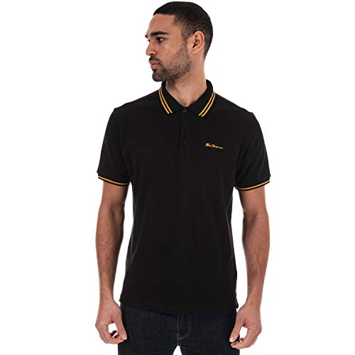 Ben Sherman Herren Poloshirt mit doppelter Spitze, kurze Ärmel, gerippte Bündchen und Gr. L, Schwarz