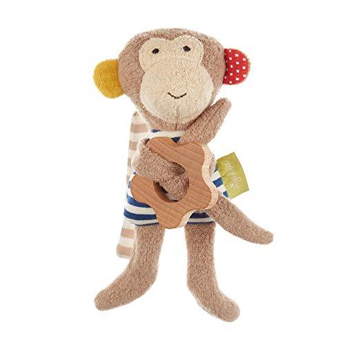 Sigikid Mädchen und Jungen, Greifling Affe Green Collection, Babyspielzeug, empfohlen ab 3 Monaten, braun/blau, 39301