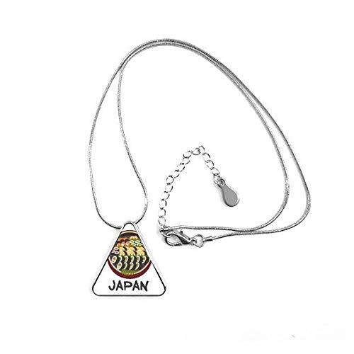 DIYthinker Tasty Tradicional Japonesa Sushi triángulo Forma Colgante Collar Joyas con Cadena decoración Regalo