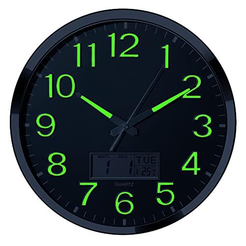 Reloj de pared luminoso – 35,5 cm extra grandes relojes de pared con función brillante pantalla LCD – Movimiento silencioso para...