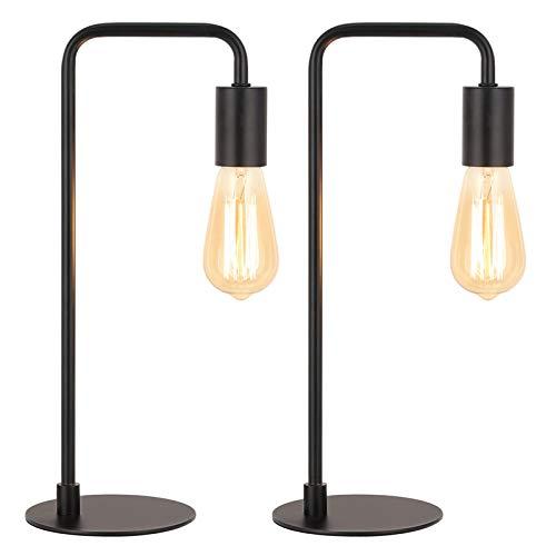 Industrial Table Lamps, Modern Edison Bedside Desk Lamps Set of 2 for Bedroom, Office, Living Room, Black