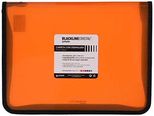 Grafoplás 4800652 - Carpeta con cremallera, color naranja, A4+, cubierta de polipropileno. Modelo Blackline Cristal