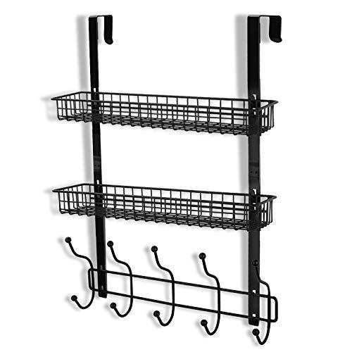Coat Rack, MILIJIA Over The Door Hanger with Mesh Basket, Detachable Storage Shelf for Towels, Hats, Handbags, Coats (Black-2 Layer)