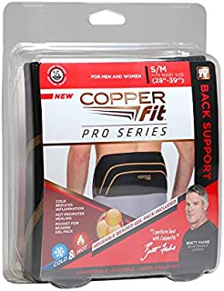 Pro Series Back Support with Hot/Cold Therapy, Black with Copper Trim, Small/Medium
