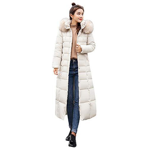 JERFER Womens Casual Fashion Winter Warm Hooded Coat Long Cotton Padded Jackets Pocket Coats White