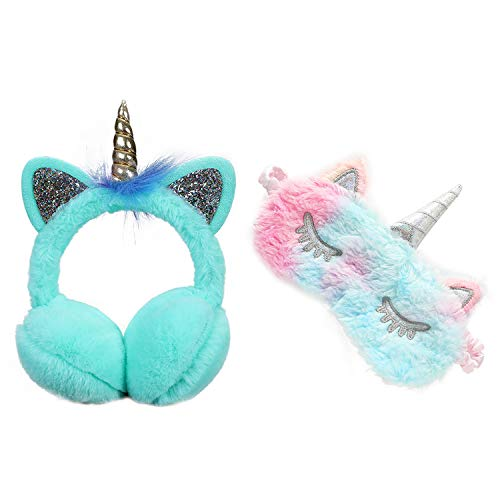 Yi Heng Niedliche Ohrenschützer für Mädchen, mit Einhorn-Motiv, Plüsch, weich gepolstert, für den Winter - - Einheitsgröße