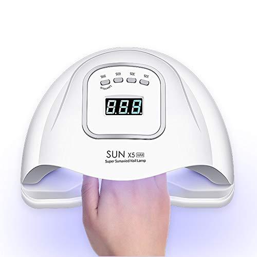 150W Nageltrockner für Gel Nagellack,Nagellampe mit 4 Timer,45 LED-Lampen, Auto-Sensor, Touchscreen, Abnehmbare Magnet-Platte für Fingernagel und Zehennagel (150W, Weiß)