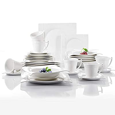 Vancasso 36 Pieces White and Black Dinner Set Ivory White Porcelain Dinner Set of Cups/Saucers/Bowls/Soup Plates/Dessert Plates/Dinner Plates from vancasso