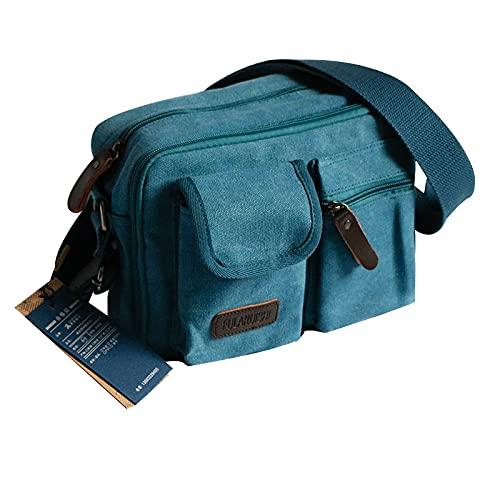 Casual Canvas Tasche Damen praktische mehrlagige One-Shoulder-Diagonaltasche Stoff Messenger Bag