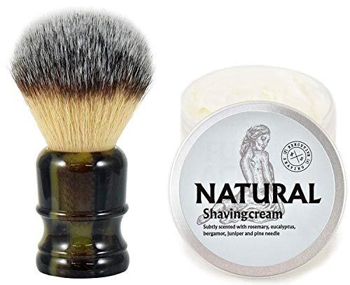 The Executive Shaving Company Big Jock Grand Fibre Synthétique Brosse de Rasage avec D'Imitation Corne Résine Manche et Naturelle Crème de Rasage 200ml