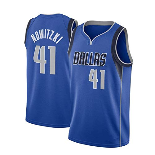 Dirk Werner Nowitzki Basketballtrikot, Dallas Mavericks # 41 Herren Basketball Fan Trikot Atmungsaktives Besticktes Mesh Basketball Swingman Trikot Royal Blue-L