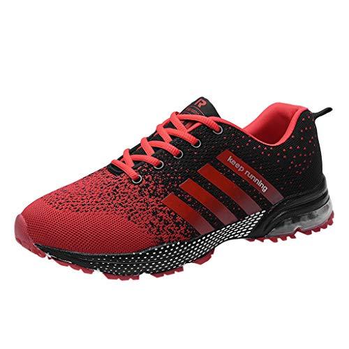 Skxinn Unisex Sneakers Fitnessschuhe Leicht Schnürschuhe Atmungsaktive Casual Herren Mode Turnschuhe Sportliche Basketball-Laufschuhe Wanderschuhe für Damen Gr 35-47(Rot-2,44 EU)