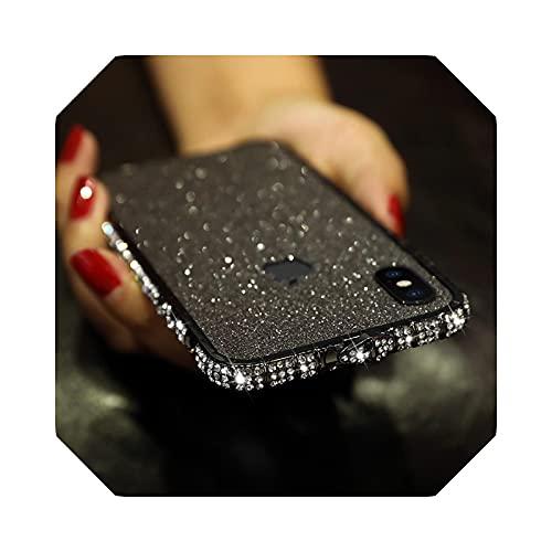 Carcasa de metal para iPhone 11 12 Mini Pro X XR XS Max Glitter Shining Diamante Marco Cover for Apple 7 8 Plus-Black-for iPhone 6 Plus