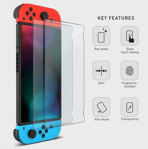 2 películas protetoras de tela Otent de vidro temperado para console Nintendo Switch
