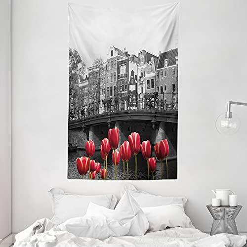 ABAKUHAUS Schwarz & weiß Wandteppich & Tagesdecke, Amsterdam-Kanal, aus Weiches Mikrofaser Stoff Dreck abweichender Digitaldruck, 140 x 230 cm, Schwarz Weiß & Rot