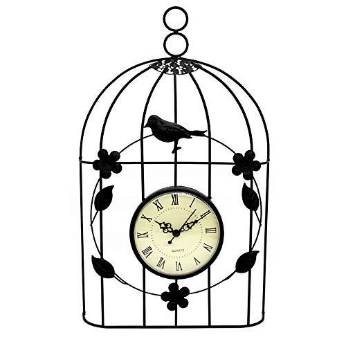 Dailing Retro Wall Clock Metal Iron Bird Cage Wall Clock Home Decoration Garden Ornaments Outdoor Black