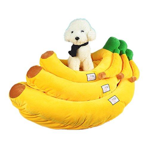Banane Hundebett Katzenbett Baumwolle Pet Bett Kissen für Hunde Katzen Kleintiere (L)