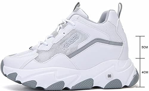 GILKUO Zapatillas Cuña Interior Mujer Verano Zapatillas Altas Deportivas Deporte Plataforma Sneakers Zapatos Cuña Talón 9cm Blanco 37
